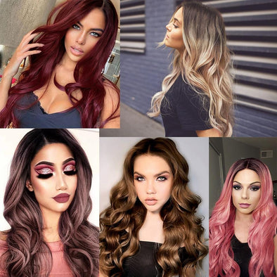 Ombre Red Long Body Wavy Natural Mini Lace Front Wigs