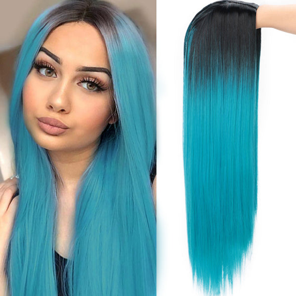 2021 Black to Blue Straight Mini Lace Front Wigs