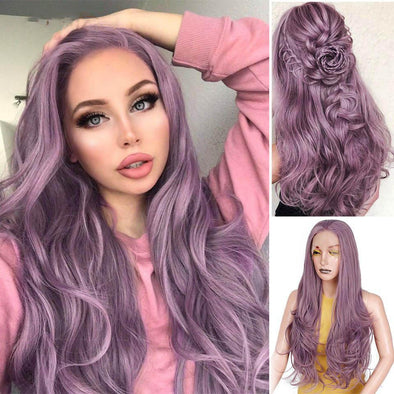Halloween Purple Long Wavy Lace Front Wigs