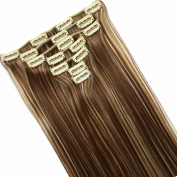 16 Clips Long Straight Hair Extensions