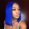 Blue Straight Bob Lace Front Human Hair Wigs