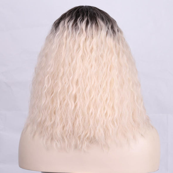 BEAUTY Ombre Blonde Short Kinky Curl Mini Lace Front Wigs