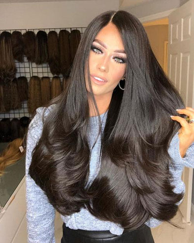 24inches Black Straight Hair Lace Front Wig
