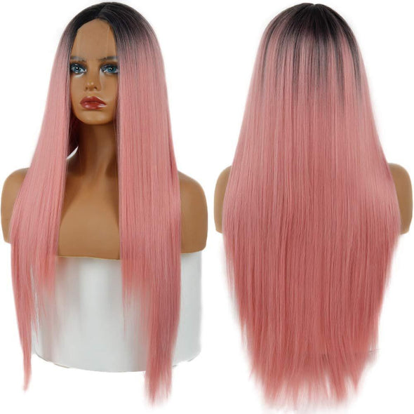 Women' s Pink Straight Hot Mini Lace Front Wig