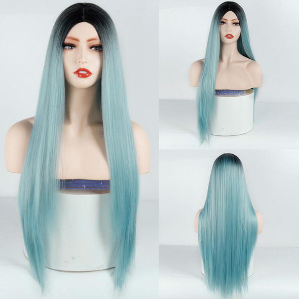 Women' s Blue Straight Hot Mini Lace Front Wig