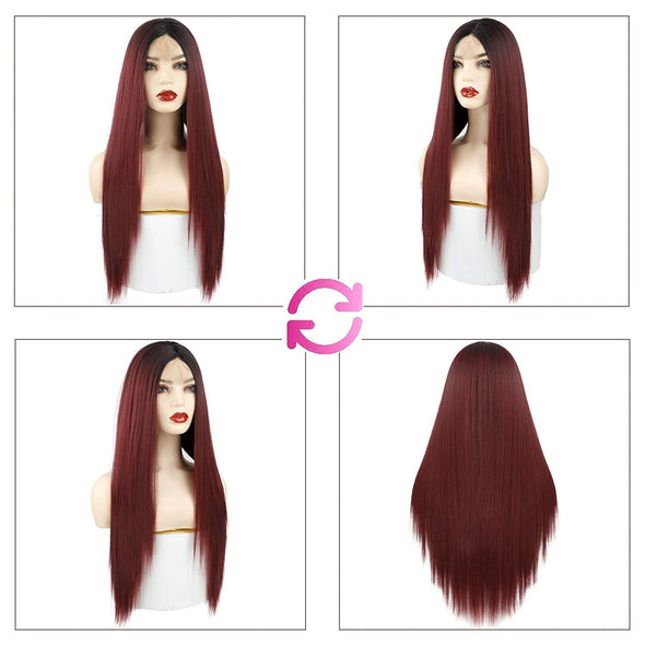 Women' s Red Straight Hot Mini Lace Front Wig