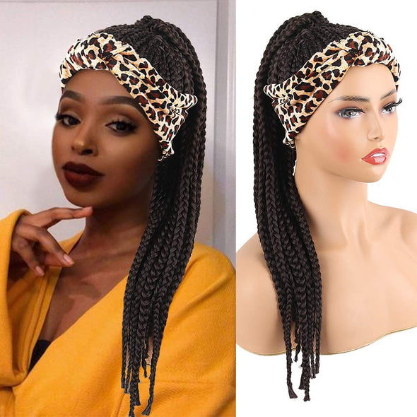 Hot Sexy Kinky Long Curly Braid Wig with Leopard Headband