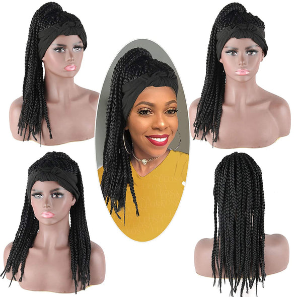 Hot Sexy Kinky Long Curly Braid Black Wig with Black Headband