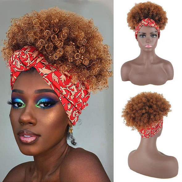 Hot Short Kinky Curly Wigs with Headband