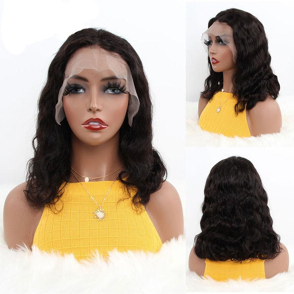 40CM Indian Body Wave Short Bob Lace Front Human Hair Wigs