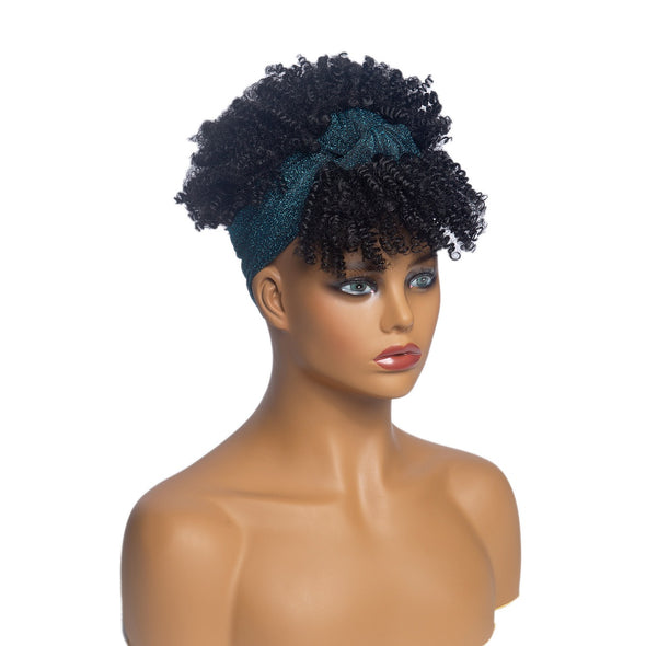 Hot Sexy Kinky Curly Wigs with Green Headband