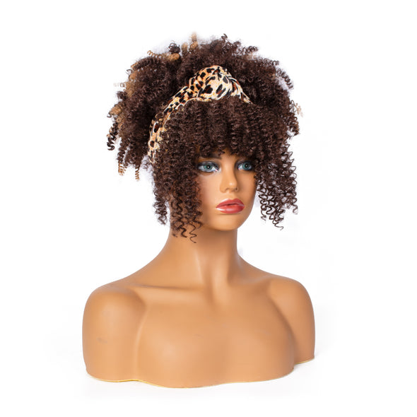 Hot Sexy Kinky Curly Mixed Brown Wigs with Leopard Headband