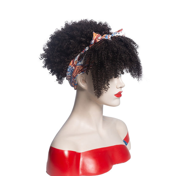 Hot Sexy Kinky Curly Bang Wig with Cute Bowtie Headband