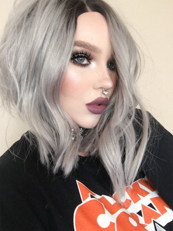 Silver Synthetic Lace Front Wig