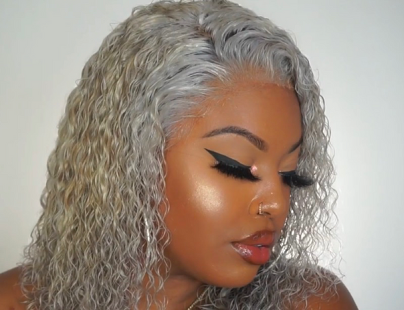 "10"" Hot Short Curly Mini Lace Front Grey Wigs"