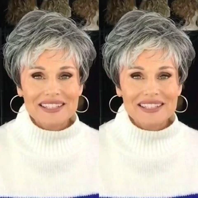 2020 Silver Gray Short Roll Wig