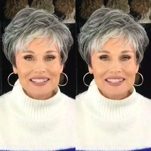 2021 Silver Grey Short Roll Wig