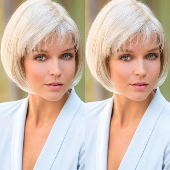 2021 New Charming Straight White Gold Short Wig