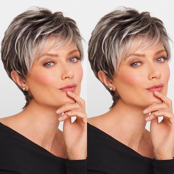 2021 New Gradient White Grey Short Wig