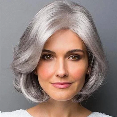 2020 New Silver Grey Roll Bob Wig