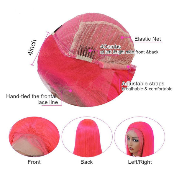 Straight Pink Lace Front Human Hair Wig