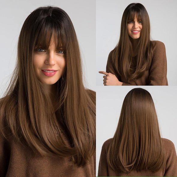 "18"" Long Brown Wig with Bangs"