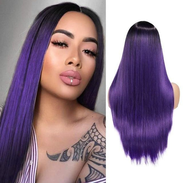 Long Straight Purple Wigs