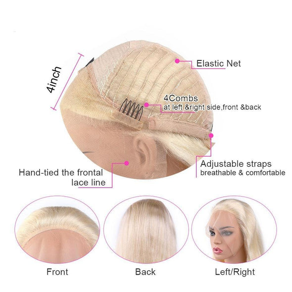 Straight Honey Blonde Lace Front Human Hair Wigs