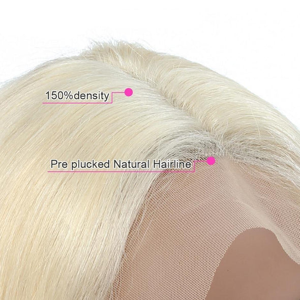 150% Density Straight Honey Blonde Lace Front Human Hair Wigs