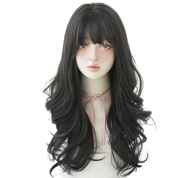 Halloween Ombre Brown Deep Wave Wig With Bangs