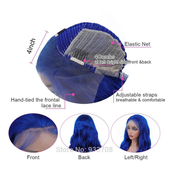 Blue Body Wave Lace Front Human Hair Wigs