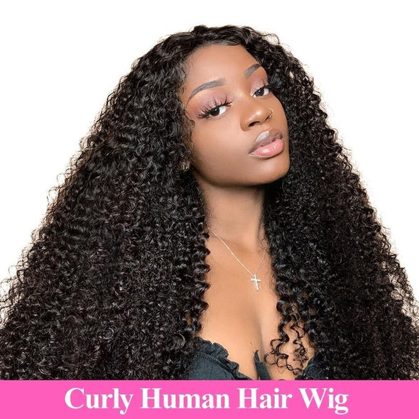 Mongolian Kinky Curly Lace Front Human Hair Wigs