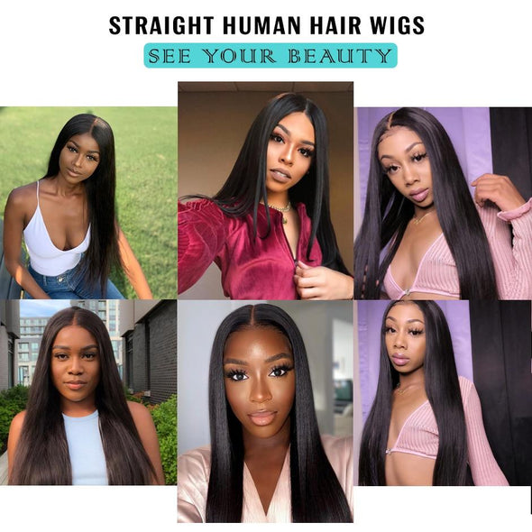 150% Density 360 Straight Lace Front Human Hair Wigs