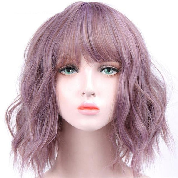 Halloween Purple Short Wavy Wigs
