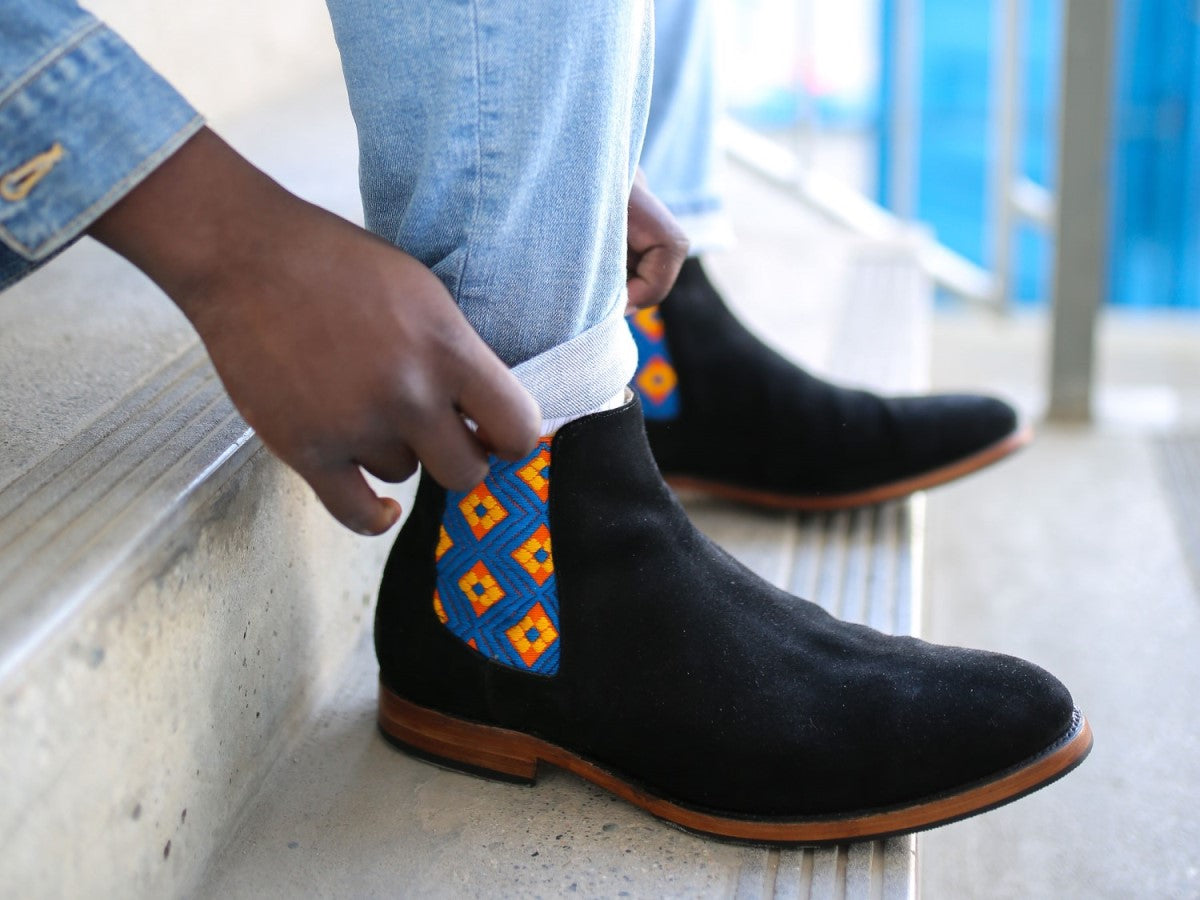 men's handcrafted small batch leather boots, men's fashion and lifestyle model with jeans