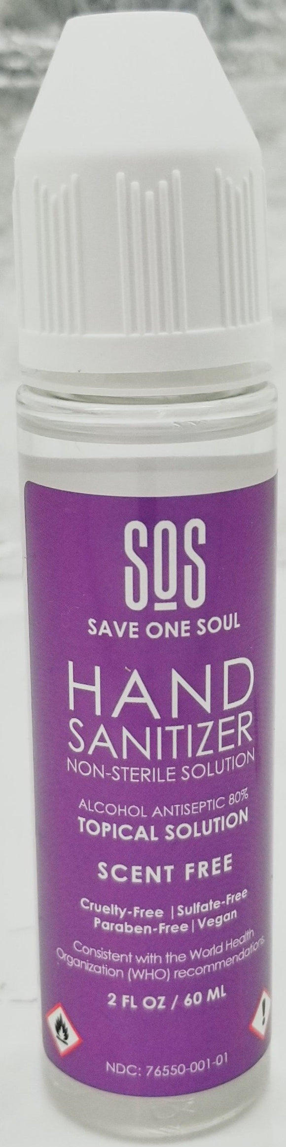 HAND SANITIZER NON-STERILE SOLUTION | 2 FL OZ (60ML) | SAVE ONE SOUL (SOS) | SCENT FREE | ALCOHOL ANTISEPTIC 80% TROPICAL SOLUTION - CBD Oil Online Store | Shop CBD Oil, Gummies, Balm, Capsules, Disposable, CBD For Pets, CBD Lotion, CBD Vape Devices & Cartridges,  CBD Tinctures and Spray