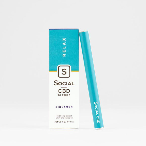 RELAX CINNAMON CBD VAPE PEN BY SOCIAL CBD | 250 MG - CBD Oil Online Store | Shop CBD Oil, Gummies, Balm, Capsules, Disposable, CBD For Pets, CBD Lotion, CBD Vape Devices & Cartridges,  CBD Tinctures and Spray