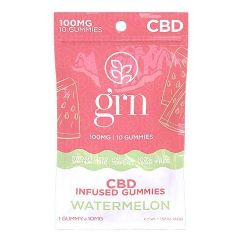 100mg CBD Gummies - Watermelon by GRN CBD - CBD Oil Online Store | Shop CBD Oil, Gummies, Balm, Capsules, Disposable, CBD For Pets, CBD Lotion, CBD Vape Devices & Cartridges,  CBD Tinctures and Spray