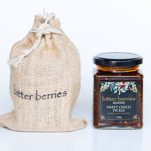 Sweet Chilli Pickle in Glass Jar with Jute Bag outer packing
