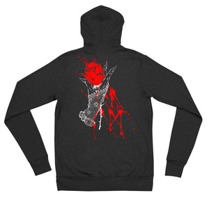 Lady hand with rose and runes Unisex zip hoodie