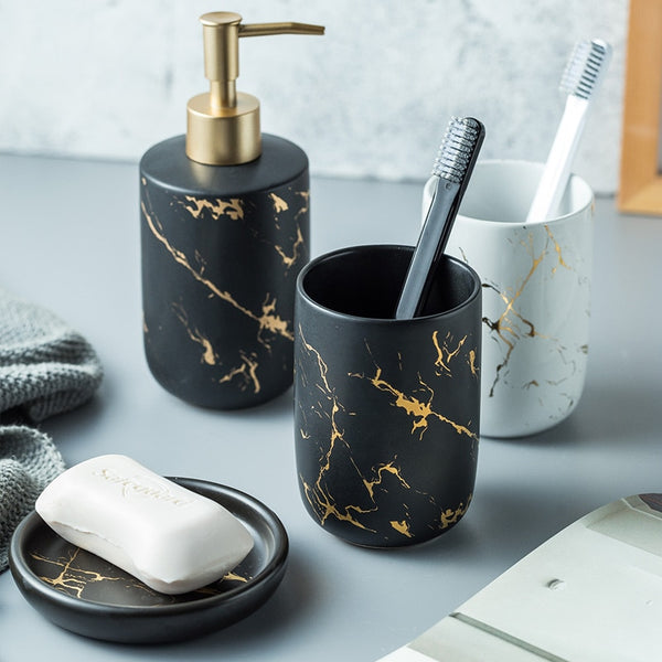 Luxury Ceramic Gold-Streaked Marble Set - Lavish Latrine