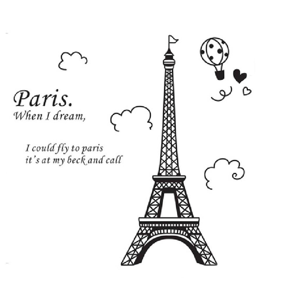 Mural DIY Decals Eiffel Tower Wall Sticker Home Decor PVC Lovely Wall Sticker Art Paris