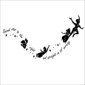 Peter Pan Second Star Wall Sticker DIY Kids Room Vinyl Decal Nursery Decor Mural Art