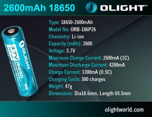 Olight 2600mAh 18650 protected Li-ion rechargeable battery ORB-186P26