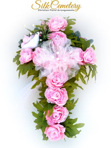 Cemetery Cross, Cross for Grave, Cemetery Flowers, Memorial Cross, Christian Wreath, Silk Cemetery