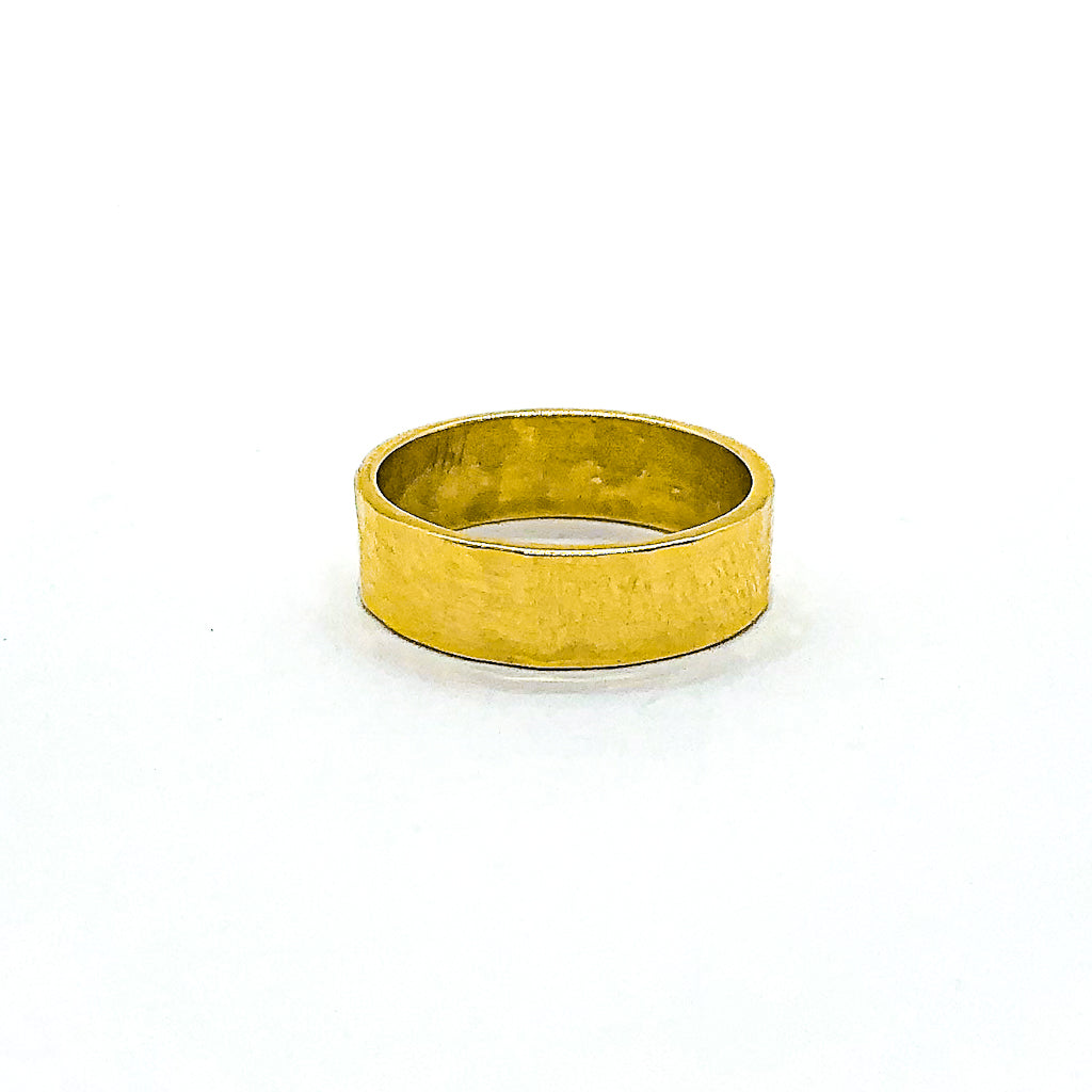 8mm 14k Gold Hammered Band in size 8 by Judie Raiford