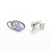 side angle view of Sterling Classic Link Cape Amethyst Earrings by Judie Raiford