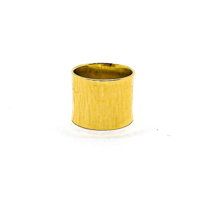 14k Gold Wide Hammered Band by Judie Raiford
