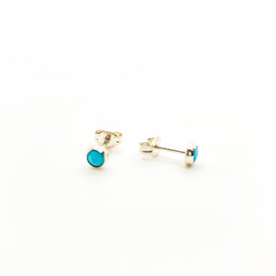 side angle view of 4mm Turquoise Studs by Judie Raiford