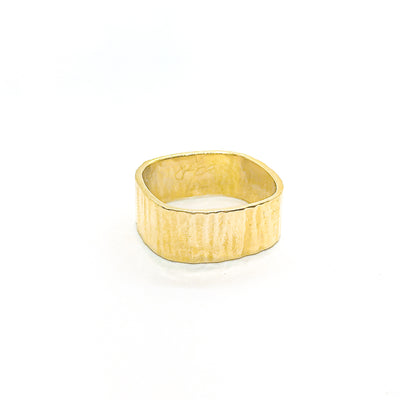 14k Gold Cross Pein Hammered Band by Judie Raiford
